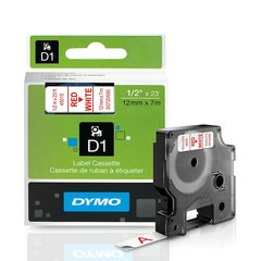 CINTA D1 12MM X 7MTS. PLASTICO BLANCO/LETRA ROJA 45015